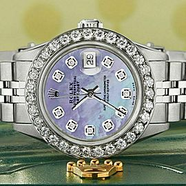 Rolex Datejust Steel 26mm Jubilee Watch Purple MOP 1.3CT Diamond Bezel & Dial