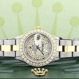 Rolex Datejust Ladies 2-Tone 26MM Oyster w/White MOP Diamond Dial & 1.30Ct Bezel