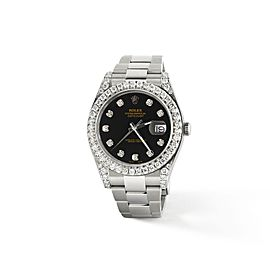 Rolex Datejust II Steel 41mm Watch 4.5CT Diamond Bezel/Lugs/Black Dial
