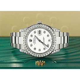 Rolex Datejust II Steel 41mm Watch 4.5CT Diamond Bezel/Lugs/White Dial