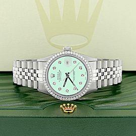 Rolex Datejust Steel 36mm Jubilee Watch 1.1CT Diamond Bezel/Light Malachite Dial