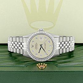 Rolex Datejust Steel 36mm Jubilee Watch 1.1CT Diamond Bezel/Off-White Dial