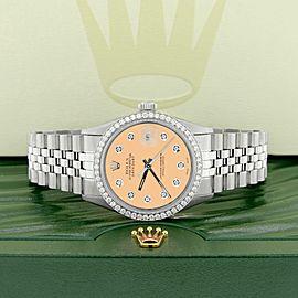 Rolex Datejust Steel 36mm Jubilee Watch/1.1CT Diamond Bezel/Mustard Diamond Dial
