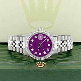Rolex Datejust Steel 36mm Jubilee Watch/1.1CT Diamond Bezel/Dark Purple Dial