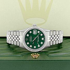 Rolex Datejust Steel 36mm Jubilee Watch 1.1CT Diamond Bezel/Royal Green MOP Dial