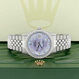 Rolex Datejust Steel 36mm Jubilee 1.1CT Diamond Bezel/Royal Purple MOP Dial