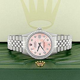 Rolex Datejust Steel 36mm Jubilee Watch 1.1CT Diamond Bezel/Royal Pink MOP Dial