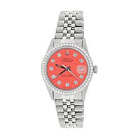 Rolex Datejust Steel 36mm Jubilee Watch Diamond Bezel Matt Coral Dial