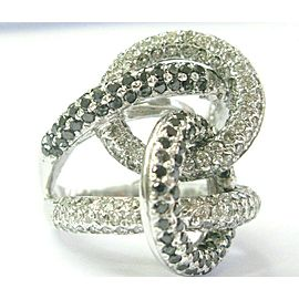 Black & White Diamond Overlapping Ring 18Kt White Gold 5.76Ct BIG RING