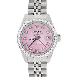 Rolex Datejust Ladies 26mm Steel Jubilee Watch w/Hot Pink Dial & Diamond Bezel