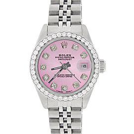 Rolex Datejust Ladies 26mm Steel Jubilee Watch w/Hot Pink Dial & Diamond Bezel