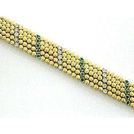 "Green Emerald & Diamond WIDE Bracelet 18Kt Yellow Gold 5-Row 2.90Ct 7"""