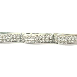 "Round Diamond Two Row Tennis Bracelet 14Kt White Gold 4.16Ct 7"" G/VS2"