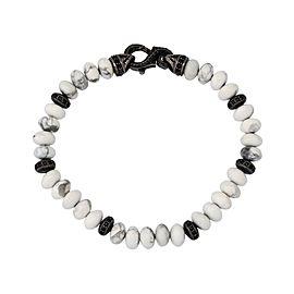 Stephen Webster Mens Thorn 6mm Howlite & pave black sapphire beads bracelet