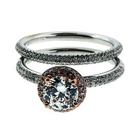 Hidalgo .68ct diamond 18K White & Rose gold Wedding set fits 1ct Round cut SZ6.5