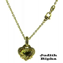 Judith Ripka diamond & canary quartz necklace in 14K yellow gold.