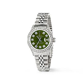 Rolex Datejust 26mm Steel Jubilee Diamond Watch w/Royal Green Dial