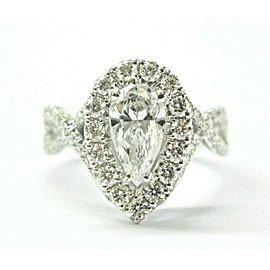 Pear Shape Halo Diamond Engagement Ring 14Kt White Gold 1.91Ct D-I1 100% EYECLEA
