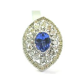 Oval Tanzanite & Diamond Ring 18Kt White Gold BIG/ HUGE 5.97Ct AAAA/VS