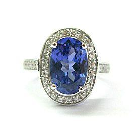 Halo Tanzanite & Diamond Ring 14Kt White Gold 2.80Ct AAAA/VS
