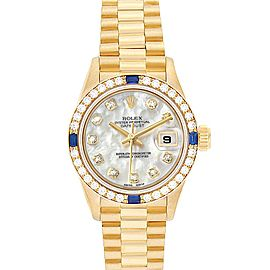 Rolex President Datejust Yellow Gold Diamond Sapphire Ladies Watch 69088