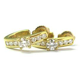Diamond Huggie Stud Earrings 18Kt Yellow Gold .86Ct F VS1 16mm