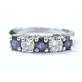 Platinum Ceylon Sapphire & Diamond 5-Stone Band Ring .60Ct