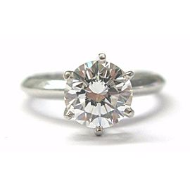 Tiffany & Co Round Diamond Solitaire Engagement Ring Platinum 950 1.50Ct G-VVS1