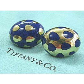 Tiffany & Co Positive Negative Lapis Earrings 18Kt Yellow Gold 22.9mm