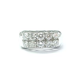 Round Cut Diamond Two Row Ring 14Kt White Gold 1.02Ct