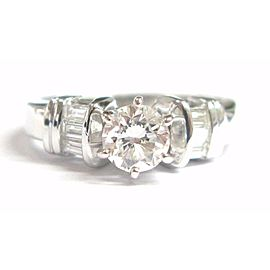 Round & Baguette Diamond Engagement Ring 14Kt White Gold F-SI1 EGL .70CT