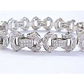"NATURAL Princess & Round Cut Diamond Bracelet 18Kt White Gold 7.25"" 7.00Ct"