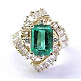 Natural Green Colombian Emerald & Diamond Ring Yellow Gold 2.24Ct