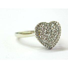 Heart Shape Diamond Pave Ring 14Kt Yellow Gold .55Ct SIZEABLE