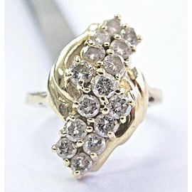 Natural Round Cut Diamond Cluster Ring 1.20Ct H-SI1 14Kt Yellow Gold