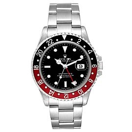 Rolex GMT Master II Black Red Coke Bezel Steel Mens Watch 16710