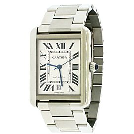 Cartier Tank Solo XL Stainless Steel 31mm Silver Roman Dial Watch W5200028
