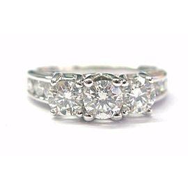 Three Stone Round Diamond Channel Set Engagement Ring 14Kt White Gold