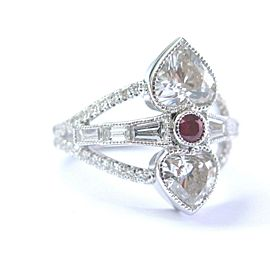 Heart Shape Diamond & Ruby Ring SOLID 14KT White Gold 2.71Ct