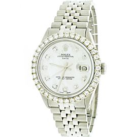 Rolex Perpetual Date 34mm Jubilee Watch w/MOP Diamond Dial & 2.7Ct Bezel