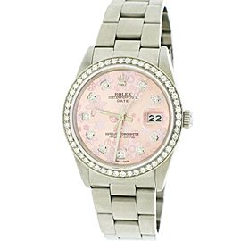 Rolex Date 34mm Stainless Steel Watch Pink Floral Diamond Dial & Bezel