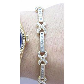 "Princess & Round Diamond Tennis Bracelet Yellow Gold 14KT 5.24CT 7"" H-VS2"