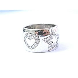 18Kt Hearts & Star Diamond White Gold WIDE Jewelry RING .68CT