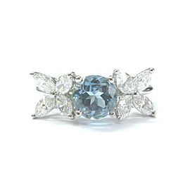 Tiffany & Co Aquamarine & Diamond Ring Platinum 950 VICTORIA COLLECTION 2.32Ct