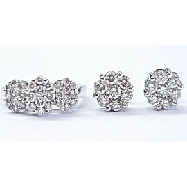 18Kt Circular Diamond Cluster White Gold Earring & Ring 2.26Ct