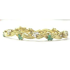 "Colombian Green Emerald & Diamond Bracelet Yellow Gold 18Kt 2.69Ct 6.25"""