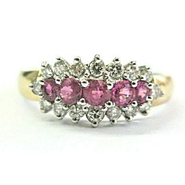 Ruby & Diamond Three-Row Ring 14Kt Yellow Gold .35Ct/.36Ct FINE RUBY SIZEABLE