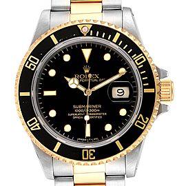 Rolex Submariner Steel 18K Yellow Gold Black Dial Mens Watch 16803