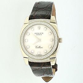 Rolex Cellini Cestello 18K White Gold Factory MOP Diamond Dial/Bezel Watch 6321