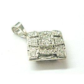 Vintage Square Old European Cut Diamond Pendant 14Kt White Gold 1.00Ct